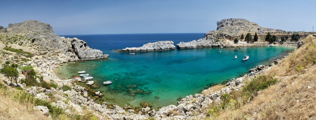 Panoramic view, St. Paul's Bay, Lindos, Rhodes