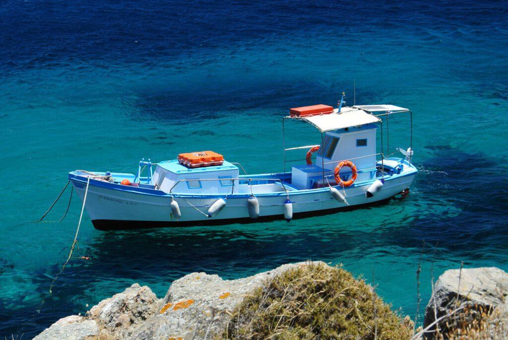 Boat near Psarou Beach Mykonos